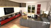 Wizualizacja 3d salonu w domu jednorodzinnym